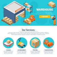 Warehouse Web Site. One page of warehouse web site with titles and color icons about different services