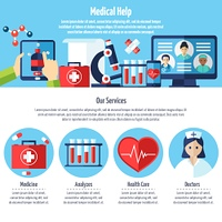 Medical Web Site. One page of medical web site with titles and color icons about medical help and services vector illustration