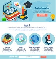 One page online education design. One page online education web design template with e-learning elements vector illustration