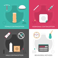 Contraception Concept Icons Set. Contraception concept icons set with hormonal and behavioral methods flat isolated vector illustration
