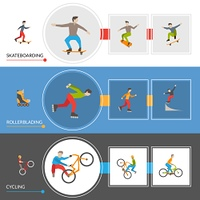 Horizontal Extreme City Sports Banners. Horizontal  banners on theme extreme city sports with rollers cyclists skateboarders icons set vector illustration