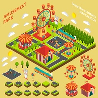 Amusement Park Isometric Map Creator Composition . Amusement park attractions elements map creator isometric symbols for fairground composition banner abstract vector illustration