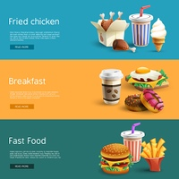 Fastfood Options Pictograms 3 Horizontal  Banners. Fast food choice options online information 3 horizontal banners set with colorful pictograms abstract isolated vector illustration