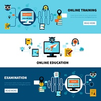 Flat Online Education Banners Collection. Flat horizontal online education banners collection of distance learning and examination vector illustration