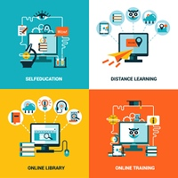 Online Education Design Concept Set. Online education design concept with flat icons composition of selfeducation distance learning online library and online training vector illustration