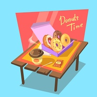 Donuts time concept. Donuts time concept with fresh bakery in paper box and drink cup retro cartoon vector illustration