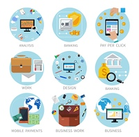 Icons set banners for business work, mobile payment, pay per click, banking, analysis in flat design