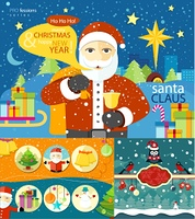 Happy Santa Claus profession. Santa Claus with bag of presents and bell near to sled in town. Christmas banners set and New Year icons bell gloves balls tree and snowman