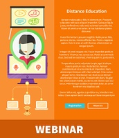 Webinare, distance education and learning. Online courses in web school. Knowledge and information. Study process. E-learning concept. Banners in flat design with place for text