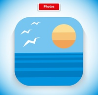 Photo app icon flat style design. Picture icon, image icon, gallery icon, photo frame,  image application, photography art, frame album, button web illustration