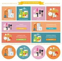 Household beverages food and cosmetic. Appliance and makeup fashion, lipstick and brush, powder and care, detergents and mascara, bottle product, drink and kitchen equipment illustration. Banners set