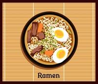 Japanese Ramen Concept. Japanese ramen. Vintage cartoon ramen noodles poster design with noodle and hot soup. Japanese noodle Ramen. Tonkotsu ramen.Pork bone ramen. Japanese food. Japanese ramen icon. Vector Japanese Ramen