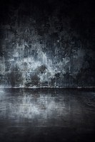 Gray concrete wall and floor with reflection in dark contrast colors