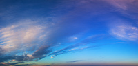 Blue morning sky with clouds panorama.
