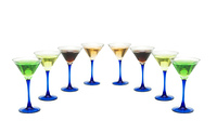 Various cocktails isolated on the white background