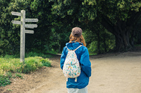 A young woman is trekking and is looking at a signpost in the forest