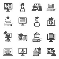 E-learning and online education black icons set isolated vector illustration. E-learning Icons Set