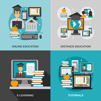 E-learning design concept set with online education flat icons isolated vector illustration. E-learning Flat Set