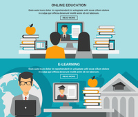E-learning horizontal banner set with online education elements isolated vector illustration. E-learning Banner Set