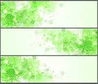 Green grunge horizontal banners for St. Patricks Day