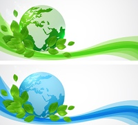 Planet Earth and green leaves. Horizontal banners with planet Earth.
