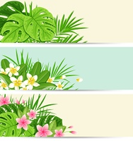 Horizontal tropical banners with flowers and leaves. Summer floral vector nature backgrounds.