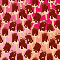 Set of seamless patterns with stick ice-cream bar with Chocolate and nuts,  on different tones pink and red backgrounds.