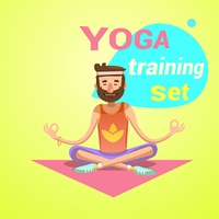 Yoga retro cartoon. Yoga retro cartoon with happy man in lotus pose vector illustration