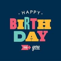 Birthday card letterpress. Blue background. Editable vector design.