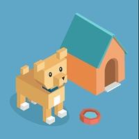 Pets set icon isometric 3d design. Pet and dog, dog house and dog, animal dog, dog of pets, puppy animal, kitten character, nature domestic pets, fauna dog animal, dog vector illustration