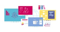 Online course icon flat design style. Education university or school, study knowledge, training science, information e-learning, learning distance, research and graduation illustration