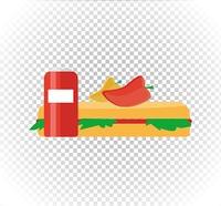 Fast food burger and drink flat design. Burger and fast food, drink and fast food, fast food restaurant, hamburger lunch, dinner sandwich, snack fast food, tasty hot dog fast food illustration