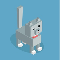 Pets cat icon isometric 3d design. Pet and cat, silver cat, animal cat, cat of pets, puppy animal, kitten character, nature domestic pets, fauna cat animal, cat vector illustration. Isolated 3d cat