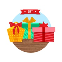 Gift box icon flat design sign. Present and ribbon vector, surprise package, celebration holiday, birthday or  christmas gift box, festive giftbox, vector illustration