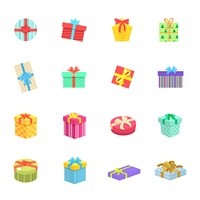 Set of gifts boxes design flat icon. Colorful gift wrap box present with bows and ribbon isolated, gift package holiday christmas surprise for anniversary or birthday or xmas gift. Vector illustration
