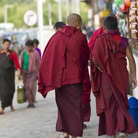 Buddhist monks walking on street, Paro, Bhutan