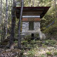 Stupa at the Taktsang Monastery, Paro, Paro District, Paro Valley, Bhutan