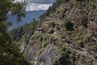 Elevated view of Taktsang trail, Taktsang Monastery, Paro, Paro District, Paro Valley, Bhutan
