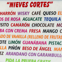 Close-up of colorful text sign, Centro, Dolores Hidalgo, Guanajuato, Mexico