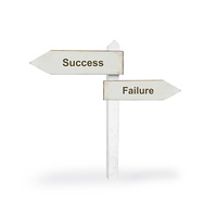 Success or failure on a white background
