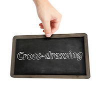Cross dressing written on a blackboard
