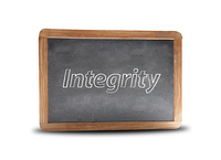 Integrity written on a blackboard