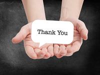 Thank you written on a speechbubble