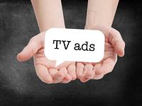 TV ads written on a speechbubble
