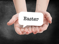 Easter written on a speechbubble