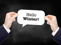 Hello winter written on a speechbubble
