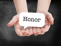 Honor written on a speechbubble