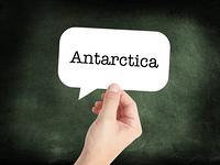 Antarctica written on a speechbubble