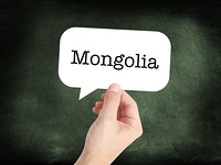Mongolia written on a speechbubble