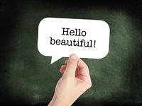 Hello beautiful written on a speechbubble